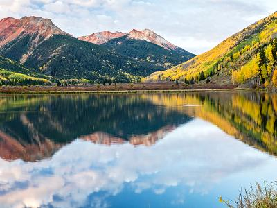 Crystal Lake Sunrise Reflections Panorama (Click for full width)