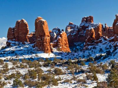 Snow-Covered Mound of Red Rocks