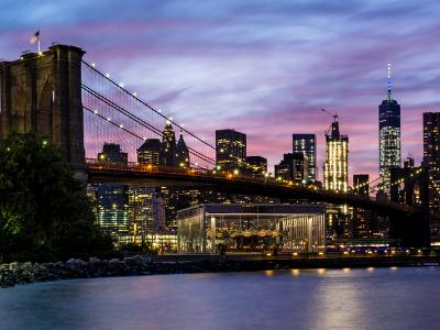 Fulton Ferry Park Twilight Panorama (Click for full width)