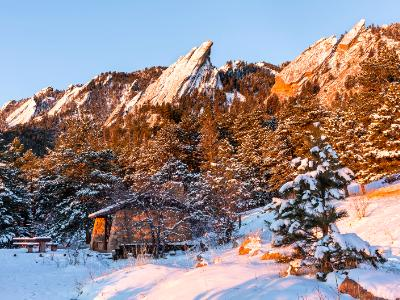Chautauqua Picnic Shelter below Snow Covered Flatirons