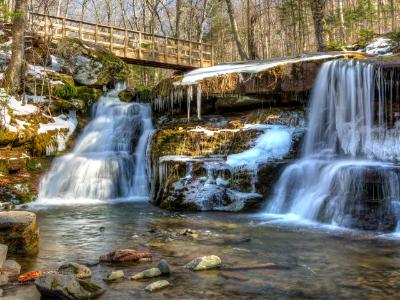 West Kill Falls and Spruceton Trail Bridge