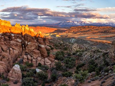Fiery Furnace Salt Valley Sunset Panorama (Click for full width)