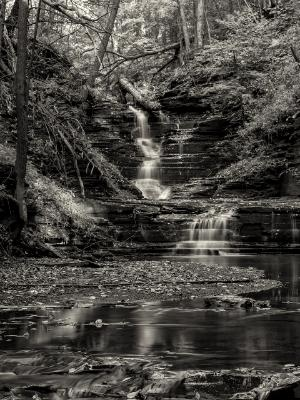 Excelsior Glen Upper Falls BLack & White