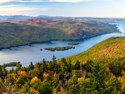 Lake George Autumn Panorama from Black Mountain (click for full width)