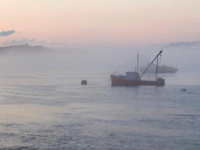 Lubec Fishing Fleet Foggy Sunset