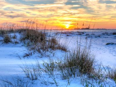 National Seashore Seaoats Sunset