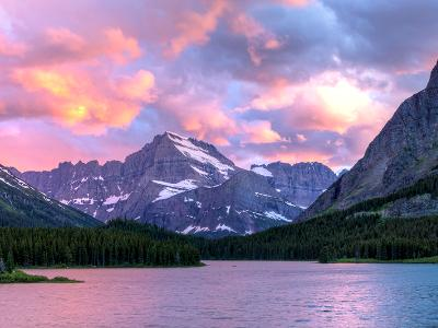 Swiftcurrent Lake Sunset Panorama (Click for full width)