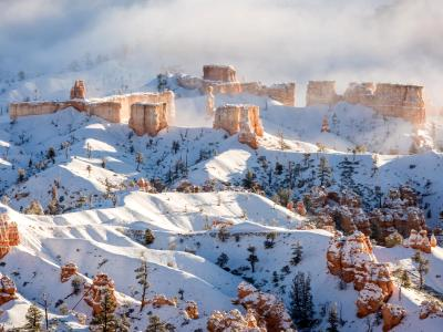 Hoodoos in Fog and Snow