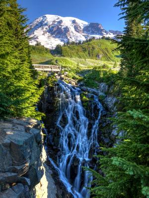 Myrtle Falls and Mt. Rainier