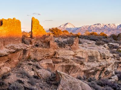 Hovenweep Castle and Sleeping Ute Mountain (click for full width)