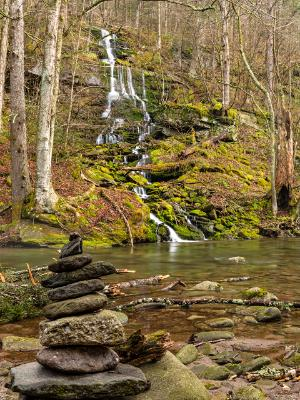 Waterfalls and Rock Cairn on Rondout Creek