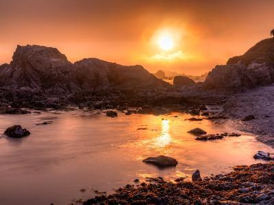 Battery Point Coastal Foggy Sunset