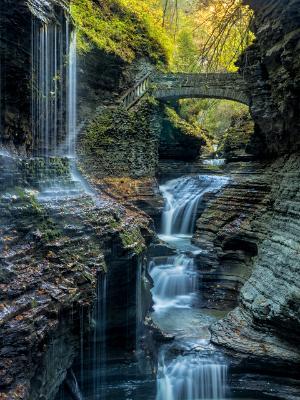 Rainbow Bridge and Falls in Autumn