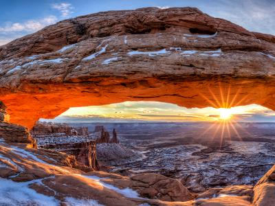 Mesa Arch Winter Sunrise Panorama