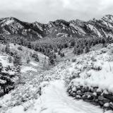 Shadow Canyon Flatirons Snowy Black & White