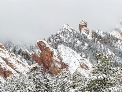 Devils Thumb and Foggy Flatirons (Click for full width)