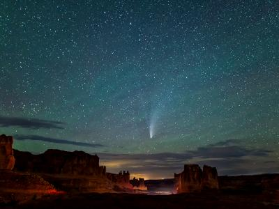 Neowise Comet and Courhouse Towers