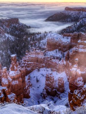 Low Lying Clouds in Bryce Canyon