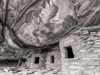 Fallen Roof Ruin Black & White