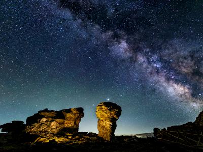 Milky Way over Trail Ridge Mushroom Rocks