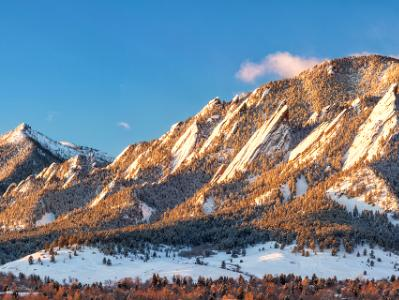 Early Morning Flatirons Snowy Panoramaa (Click for full width)