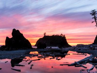 Vibrant Ruby Beach Sunset Silhouette