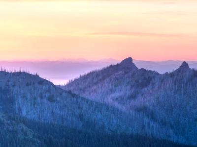 Sunset Panorama North From Hurricane Ridge (Click for full width)