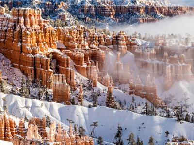 Bryce Canyon Hoodoos Foggy Panorama (Click to see full width)