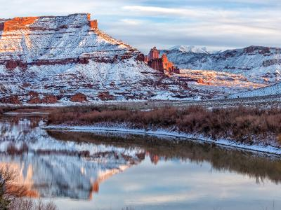 Fisher Towers and Colorado River in Winter (Click for full width)
