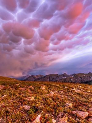 Trail Ridge Tundra and Mammatus Clouds Sunset