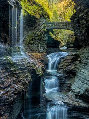 Rainbow Bridge and Falls in Autumn