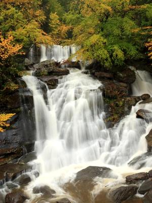 Silky Catskills Waterfall in Fall Flood