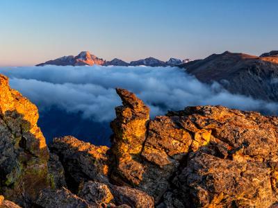 Rock Cut and Longs Peak Sunset Panorama (Click for Full width)