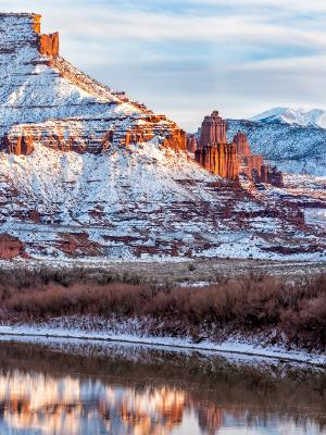 Fisher Towers Golden Light and Cold Snow