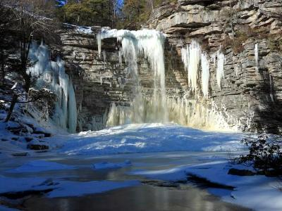 Awosting Falls and Frozen Pool