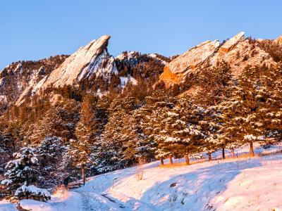 Flatirons Sunrise with Fresh Snow (Click for full width)