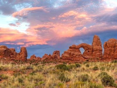 Arches Windows Sunset Panorama (click for full width)