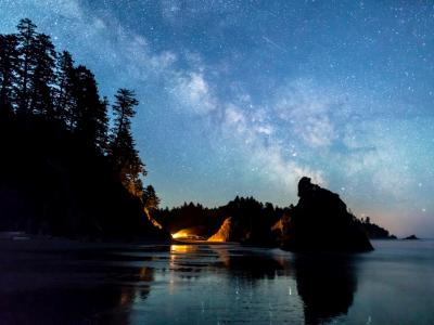 Milky Way over Ruby Beach Campfire