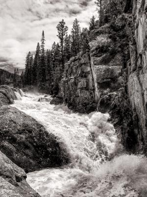 Poudre Falls Black and White