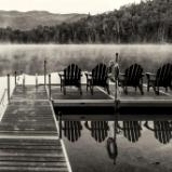 Heart Lake Dock Black and White Panorama (Click for full width)