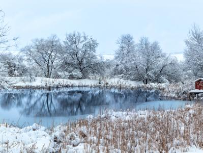 Broomfield Pond and Little Red Building (click for full width)