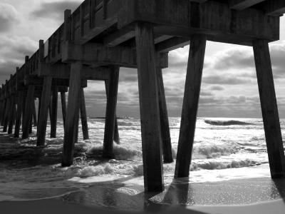 Pensacola Beach Fishing Pier (B&W)
