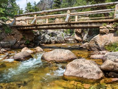 Footbridge Over the Pool on Big Thompson River
