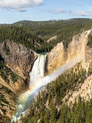 Yellowstone Lower Falls Rainbow and Blue Sky