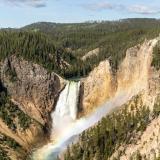 Yellowstone Lower Falls Rainbow and Blue Sky