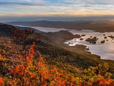 Lake George Sunset Panorama (Click for full width)