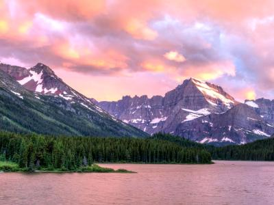 Mt. Gould Swiftcurrent Lake Sunset Panorama (Click for full width)