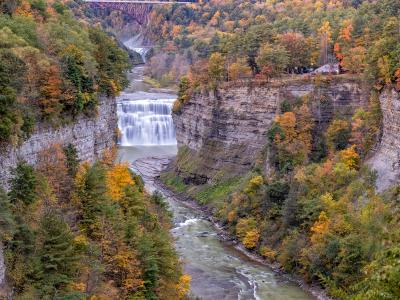 Letchworth Middle Falls & Genesee River Panorama