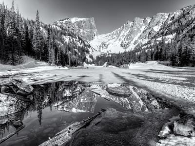 Dream Lake Spring Black and White