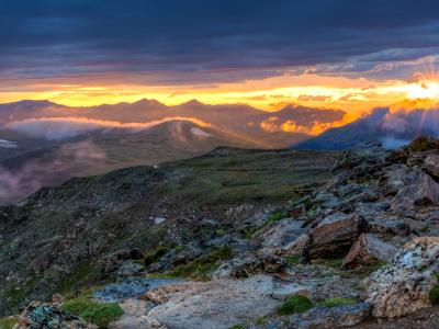 Trail Ridge Road Clearing Storm Sunset